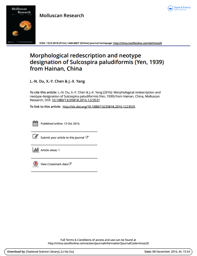 Morphological redescription and neotype designation of Sulcospira paludiformis (Yen, 1939) from Hain