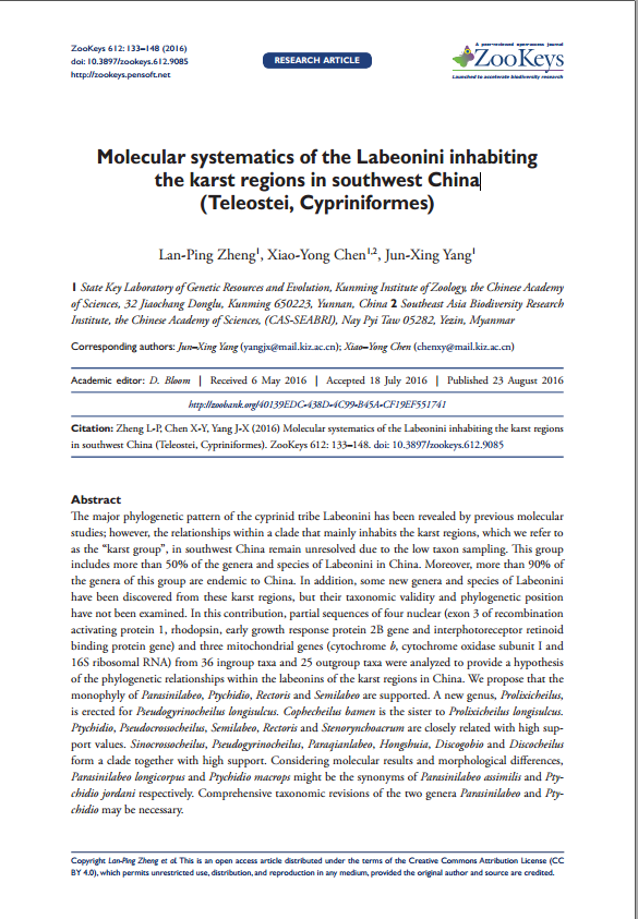 Molecular systematics of the Labeonini inhabiting the karst regions in southwest China (Teleostei, Cypriniformes)